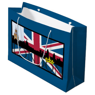 Silhouette of London and Union Jack Large Gift Bag