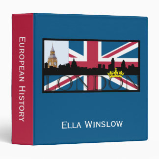 Silhouette of London and Union Jack Vinyl Binders