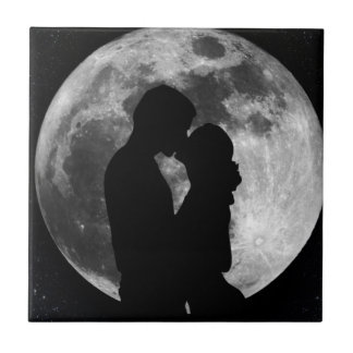 Silhouette of lovers in a full moon at night ceramic tile