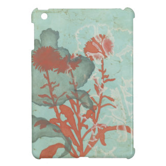 Silhouette of Red Flowers on Teal Background Case For The iPad Mini