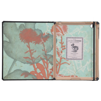 Silhouette of Red Flowers on Teal Background iPad Cover