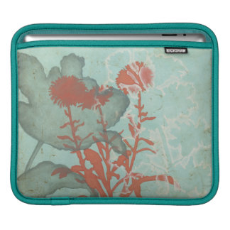Silhouette of Red Flowers on Teal Background iPad Sleeve