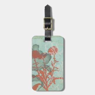 Silhouette of Red Flowers on Teal Background Luggage Tag