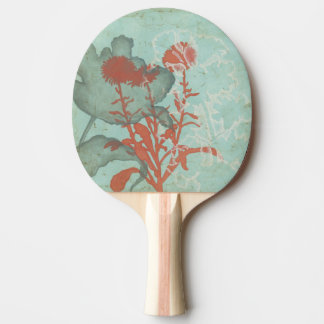 Silhouette of Red Flowers on Teal Background Ping-Pong Paddle