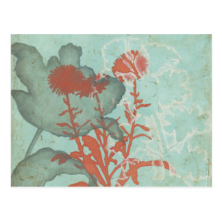 Silhouette of Red Flowers on Teal Background Postcard