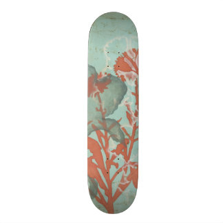 Silhouette of Red Flowers on Teal Background Skate Board Decks
