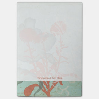Silhouette of Red Flowers on Teal Background Sticky Notes