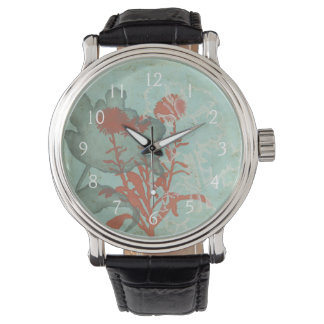 Silhouette of Red Flowers on Teal Background Wristwatches
