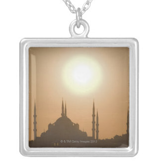 Silhouette of Suleymaniye Turkey, Istanbul Silver Plated Necklace