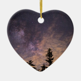Silhouette of Trees at Night Ceramic Ornament