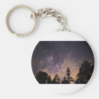 Silhouette of Trees at Night Keychain