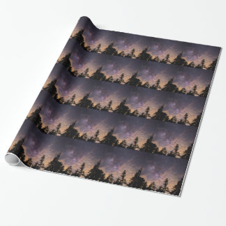Silhouette of Trees at Night Wrapping Paper