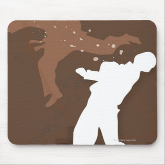 Silhouette of two men practicing karate mouse pad