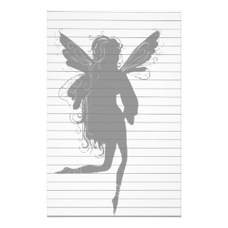 Silhouette of Winged Fairy Stationery Paper