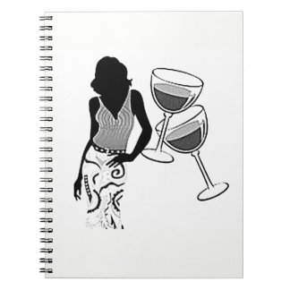 SILHOUETTE OF *WOMEN AND HER WINE* SPIRAL NOTEBOOK