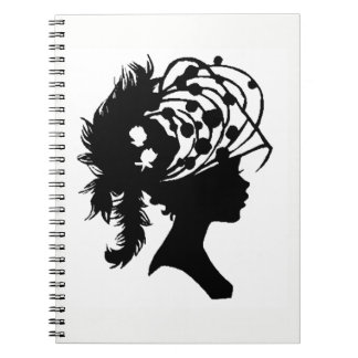 *SILHOUETTE OF WOMEN IN HAT* SPIRAL NOTEBOOK