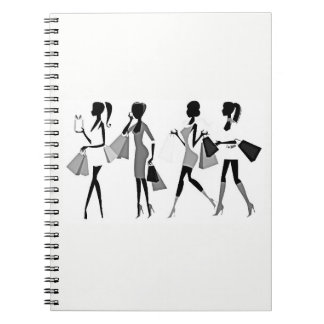 SILHOUETTE OF *WOMEN SHOPPING FUN* SPIRAL NOTEBOOK