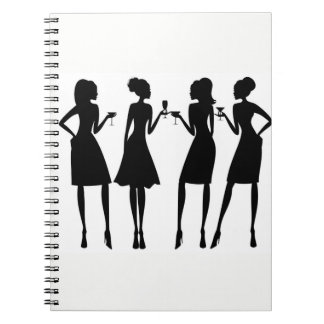 *SILHOUETTE OF WOMEN'S WINE TIME* SPIRAL NOTEBOOK
