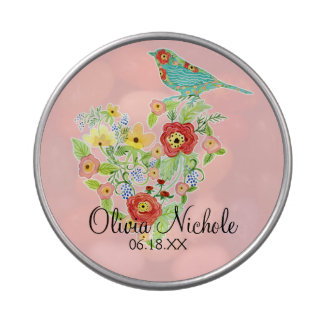 Silhouette Patterned Bird w Floral Heart Baby Girl