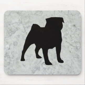 Silhouette Pug - Gray Marble Mouse Pad