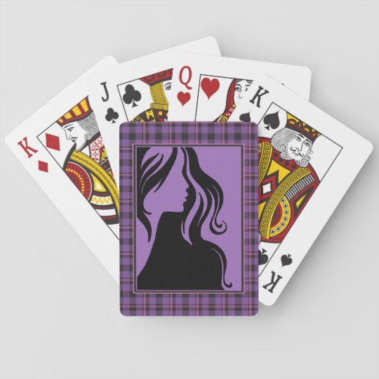 Silhouette Purple Plaid Woman Playing Card