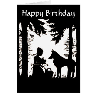Silhouette Red Riding Hood Wolf Woods Birthday Card