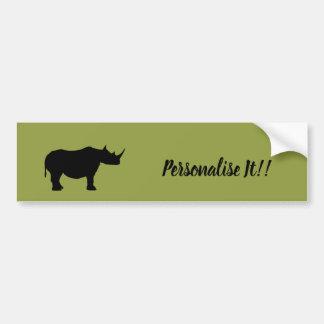 Silhouette Rhinoceros Bumper Sticker