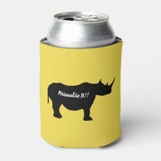 Silhouette Rhinoceros Can Cooler