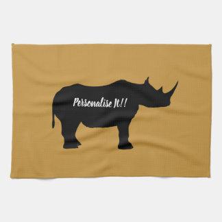Silhouette Rhinoceros Kitchen Towel