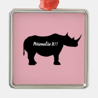 Silhouette Rhinoceros Metal Ornament