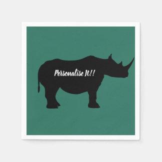 Silhouette Rhinoceros Paper Napkins