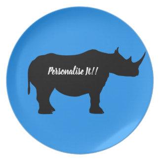 Silhouette Rhinoceros Plate