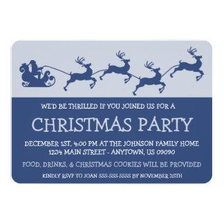 Silhouette Santa's Sleigh Invitations (Navy Blue)