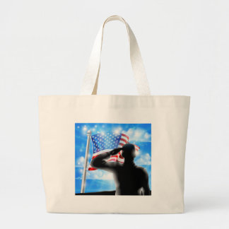 Silhouette Soldier Saluting American Flag Large Tote Bag