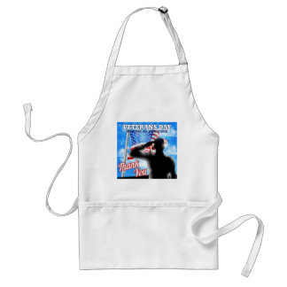 Silhouette Soldier Saluting American Flag Veterans Standard Apron