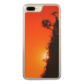 Silhouette Sunset Carved iPhone 7 Plus Case