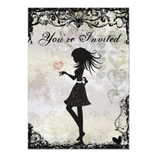 """Silhouette Teen Girl and Hearts Birthday Party 5"""" X 7"""" Invitation Card"""