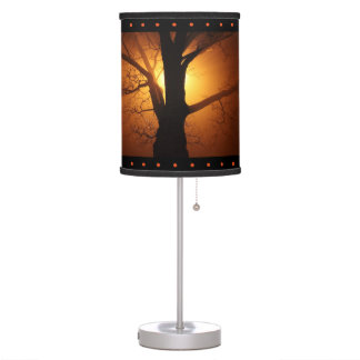 Silhouette Tree in Sunset Table Lamp