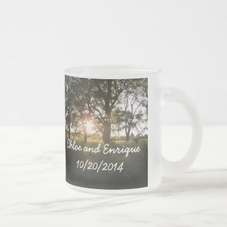 Silhouette Trees And Sunlight Personalized Weddin Frosted Glass Coffee Mug