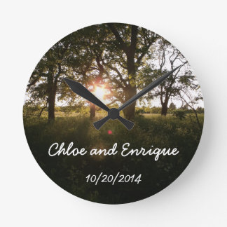 Silhouette Trees And Sunlight Personalized Weddin Round Clock