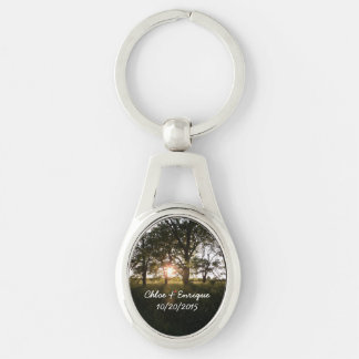 Silhouette Trees And Sunlight Personalized Wedding Silver-Colored Oval Keychain