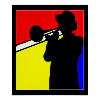 "Silhouette trombone player, mondrian style art 20"" poster"