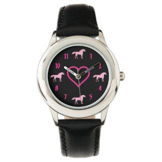 Silhouette Unicorns and Heart Pink and Black Girls Wrist Watch