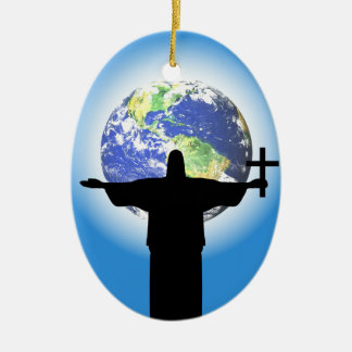 Silhouette with a cross ceramic oval ornament