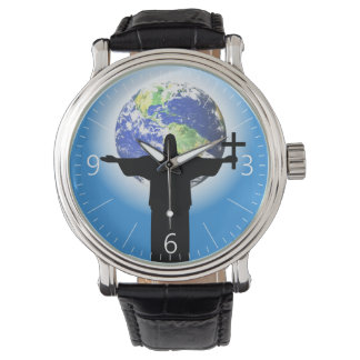 Silhouette with a cross watches