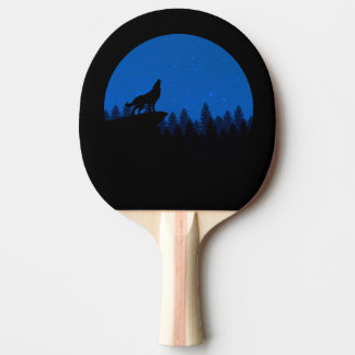 Silhouette wolf - wolf illustration - wolf art ping pong paddle