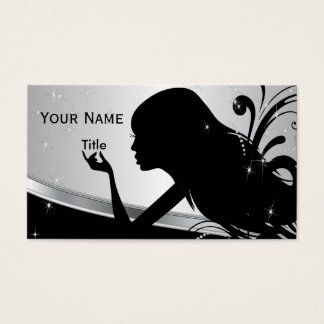 Silhouette Woman Hair Stylist Business Card
