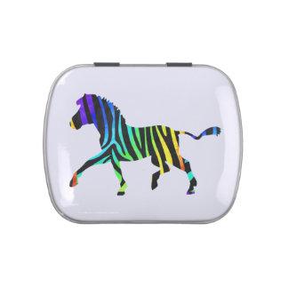 Silhouette Zebra Black and Rainbow