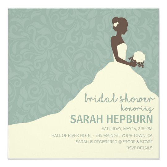 Silhouetted Bride Teal Green Bridal Shower Invites