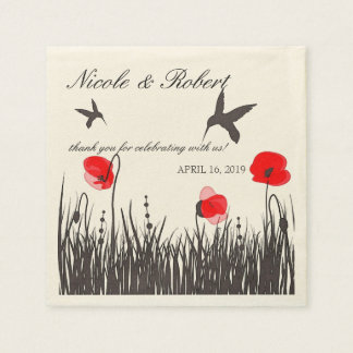 Silhouetted Hummingbirds & Red Poppies Custom Paper Napkin
